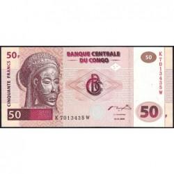 Rép. Démocr. du Congo - Pick 91A - 50 francs - Série K W - 04/01/2000 - Etat : NEUF