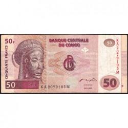 Rép. Démocr. du Congo - Pick 91A - 50 francs - Série KA M - 04/01/2000 - Etat : TB