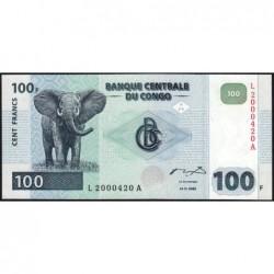 Rép. Démocr. du Congo - Pick 92 - 100 francs - Série L A - 04/01/2000 - Petit numéro - Etat : NEUF