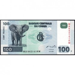 Rép. Démocr. du Congo - Pick 92A - 100 francs - Série MA M - 04/01/2000 - Etat : NEUF