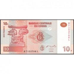 Rép. Démocr. du Congo - Pick 93 - 10 francs - Série H L - 30/06/2003 - Etat : NEUF