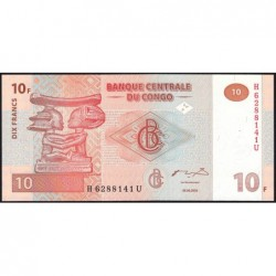 Rép. Démocr. du Congo - Pick 93 - 10 francs - Série H U - 30/06/2003 - Etat : NEUF