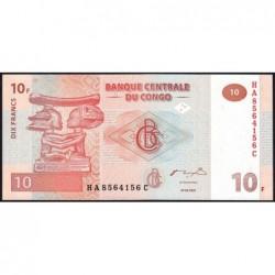 Rép. Démocr. du Congo - Pick 93 - 10 francs - Série HA C - 30/06/2003 - Etat : NEUF