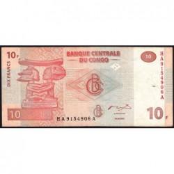 Rép. Démocr. du Congo - Pick 93A - 10 francs - Série HA A - 30/06/2003 - Etat : TB