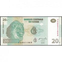 Rép. Démocr. du Congo - Pick 94 - 20 francs - Série JA D - 30/06/2003 - Etat : NEUF