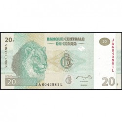 Rép. Démocr. du Congo - Pick 94A - 20 francs - Série JA L - 30/06/2003 - Etat : NEUF