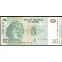 Rép. Démocr. du Congo - Pick 94A - 20 francs - Série JA N - 30/06/2003 - Etat : NEUF
