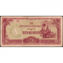 Birmanie - Pick 16a_2a - 10 rupees - Série BA - 1942 - Etat : TB+