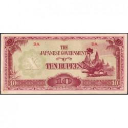 Birmanie - Pick 16a_2b - 10 rupees - Série BA - 1942 - Etat : SPL