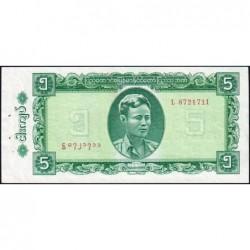 Birmanie - Pick 53 - 5 kyats - Série L - 1965 - Etat : SPL