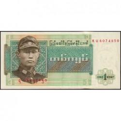 Birmanie - Pick 56 - 1 kyat - Série KU - Etat : NEUF