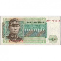 Birmanie - Pick 56 - 1 kyat - Série MW - Etat : NEUF