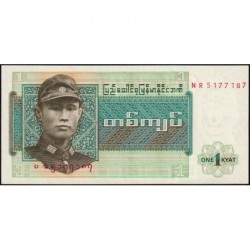 Birmanie - Pick 56 - 1 kyat - Série NR - Etat : NEUF