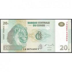 Rép. Démocr. du Congo - Pick 94A - 20 francs - Série JA V - 30/06/2003 - Etat : NEUF