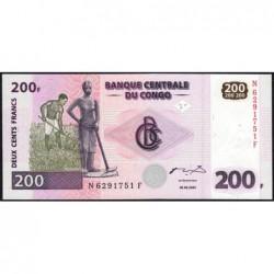 Rép. Démocr. du Congo - Pick 95 - 200 francs - Série N F - 30/062000 - Etat : NEUF