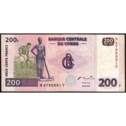 Rép. Démocr. du Congo - Pick 95 - 200 francs - Série N T - 30/062000 - Etat : TB