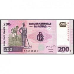 Rép. Démocr. du Congo - Pick 95A - 200 francs - Série N Q - 30/062000 - Etat : NEUF