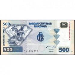 Rép. Démocr. du Congo - Pick 96-1 - 500 francs - Série P A - 04/01/2002 - Etat : NEUF