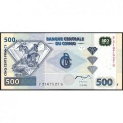 Rép. Démocr. du Congo - Pick 96-2 - 500 francs - Série P G - 04/01/2002 - Etat : NEUF