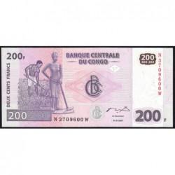 Rép. Démocr. du Congo - Pick 99 - 200 francs - Série N W - 31/07/2007 - Etat : NEUF