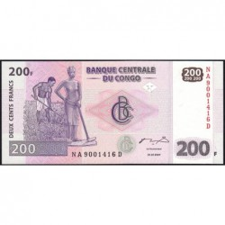 Rép. Démocr. du Congo - Pick 99 - 200 francs - Série NA D - 31/07/2007 - Etat : NEUF