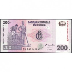 Rép. Démocr. du Congo - Pick 99 - 200 francs - Série NA M - 31/07/2007 - Etat : NEUF