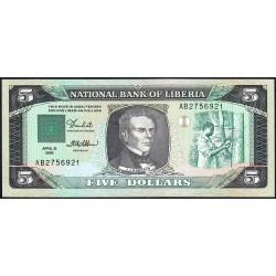 Libéria - Pick 19 - 5 dollars - Série AB - 12/04/1989 - Etat : NEUF