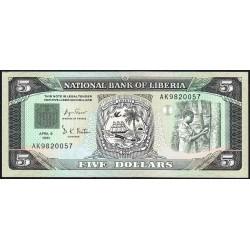 Libéria - Pick 20 - 5 dollars - Série AK - 06/04/1991 - Etat : pr.NEUF
