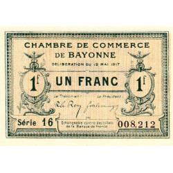 Bayonne - Pirot 21-45 - 1 franc - Série 16 - 19/05/1917 - Etat : NEUF