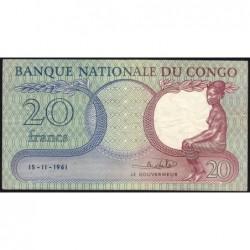 Congo (Kinshasa) - Pick 4a - 20 francs - Série B - 15/11/1961 - Etat : TTB