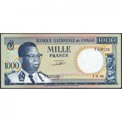 Congo (Kinshasa) - Pick 8a - 1'000 francs - Série T - 01/08/1964 - Etat : SPL+
