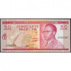 Congo (Kinshasa) - Pick 11a - 50 makuta - Série J - 02/01/1967 - Etat : NEUF