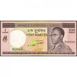 Congo (Kinshasa) - Pick 12a - 1 zaïre ou 100 makuta - Série B - 02/01/1967 - Etat : SUP+