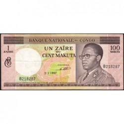 Congo (Kinshasa) - Pick 12a - 1 zaïre ou 100 makuta - Série B - 02/01/1967 - Etat : TTB