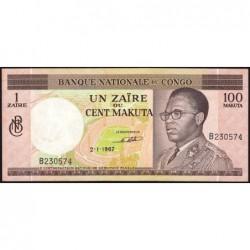 Congo (Kinshasa) - Pick 12a - 1 zaïre ou 100 makuta - Série B - 02/01/1967 - Etat : SUP