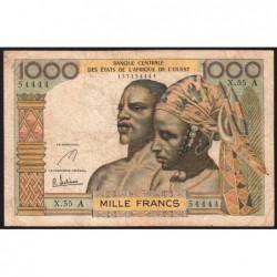 Côte d'Ivoire - Pick 103Ae - 1'000 francs - Série X.55 - 1967 - Etat : TB-