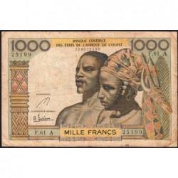 Côte d'Ivoire - Pick 103Ae - 1'000 francs - Série F.61 - 1967 - Etat : TB-