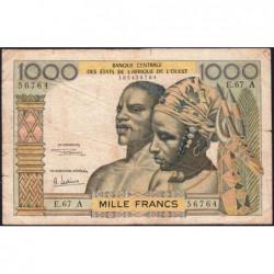 Côte d'Ivoire - Pick 103Af - 1'000 francs - Série E.67 - 1969 - Etat : TB-