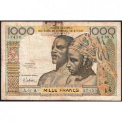 Côte d'Ivoire - Pick 103Af - 1'000 francs - Série A.68 - 1969 - Etat : B