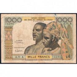 Côte d'Ivoire - Pick 103Af - 1'000 francs - Série A.71 - 1969 - Etat : TB-