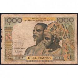 Côte d'Ivoire - Pick 103Af - 1'000 francs - Série E.71 - 1969 - Etat : B