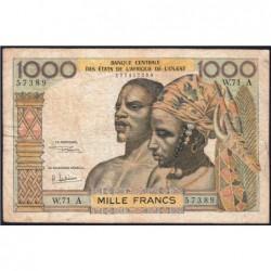 Côte d'Ivoire - Pick 103Af - 1'000 francs - Série W.71 (billet de remplacement) - 1969 - Etat : TB-