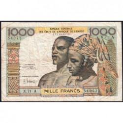 Côte d'Ivoire - Pick 103Af - 1'000 francs - Série X.71 - 1969 - Etat : B+