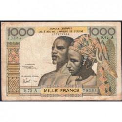 Côte d'Ivoire - Pick 103Af - 1'000 francs - Série D.72 - 1969 - Etat : TB-