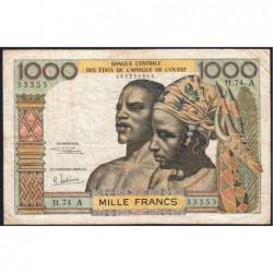 Côte d'Ivoire - Pick 103Af - 1'000 francs - Série H.74 - 1969 - Etat : TB-