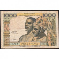 Côte d'Ivoire - Pick 103Ag - 1'000 francs - Série N.76 - 1970 - Etat : TB-