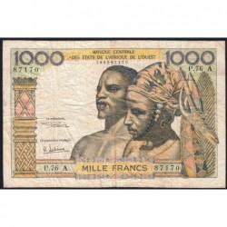 Côte d'Ivoire - Pick 103Ag - 1'000 francs - Série P.76 - 1970 - Etat : B+