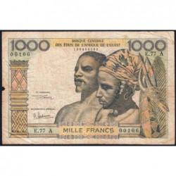 Côte d'Ivoire - Pick 103Ag - 1'000 francs - Série E.77 - 1970 - Etat : B+