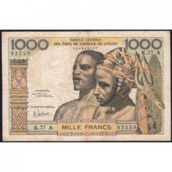Côte d'Ivoire - Pick 103Ag - 1'000 francs - Série K.77 - 1970 - Etat : TB-