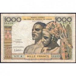 Côte d'Ivoire - Pick 103Ag - 1'000 francs - Série S.77 - 1970 - Etat : TB-